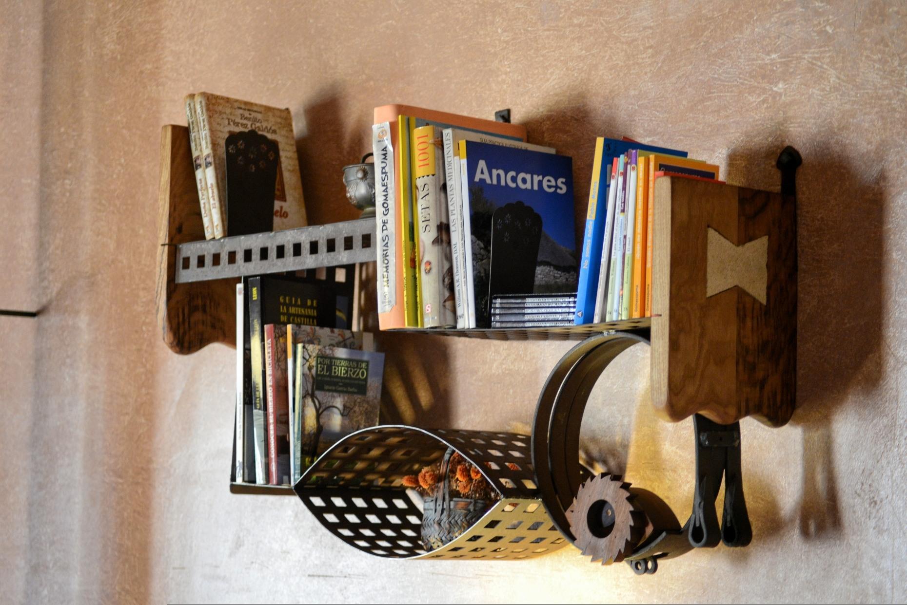 Casa rural El Encanto - El Mayulon - Estanteria libreria con lectura sobre el Bierzo y otra tematica variada